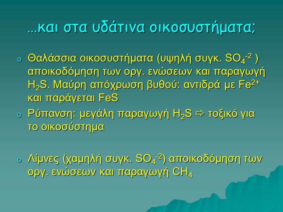 …και στα υδάτινα οικοσυστήματα; o Θαλάσσια οικοσυστήματα (υψηλή συγκ. SO 4 -2 ) αποικοδόμηση των οργ. ενώσεων και παραγωγή Η 2 S. Μαύρη απόχρωση βυθού