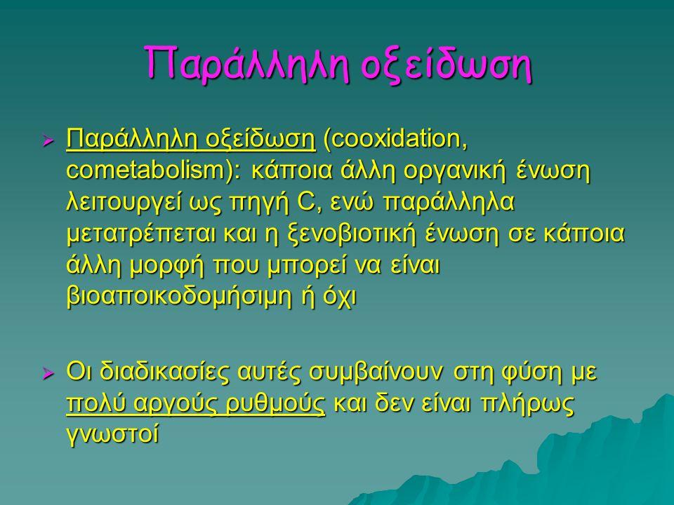 Παράλληλη οξείδωση  Παράλληλη οξείδωση (cooxidation, cometabolism): κάποια άλλη οργανική ένωση λειτουργεί ως πηγή C, ενώ παράλληλα μετατρέπεται και η