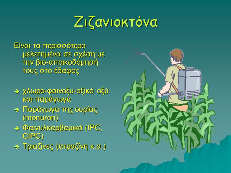 Ζιζανιοκτόνα Είναι τα περισσότερο μελετημένα σε σχέση με την βιο-αποικοδόμησή τους στο έδαφος  χλωρο-φαινοξυ-οξικό οξύ και παράγωγα  Παράγωγα της ου