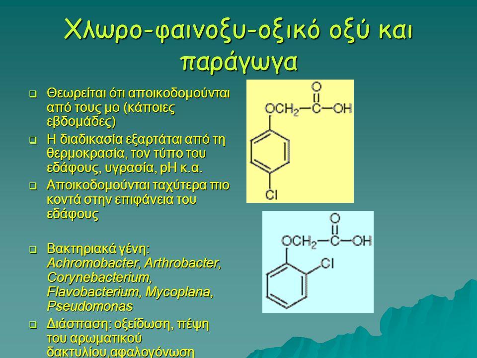 Χλωρο-φαινοξυ-οξικό οξύ και παράγωγα  Θεωρείται ότι αποικοδομούνται από τους μο (κάποιες εβδομάδες)  Η διαδικασία εξαρτάται από τη θερμοκρασία, τον
