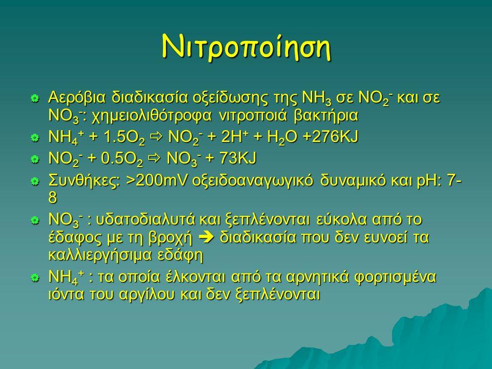 Νιτροποίηση  Αερόβια διαδικασία οξείδωσης της ΝΗ 3 σε ΝΟ 2 - και σε ΝΟ 3 - : χημειολιθότροφα νιτροποιά βακτήρια  ΝΗ 4 + + 1.5O 2  ΝΟ 2 - + 2Η + + Η