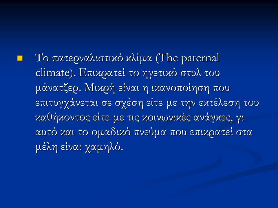Το πατερναλιστικό κλίμα (The paternal climate).Επικρατεί το ηγετικό στυλ του μάνατζερ.
