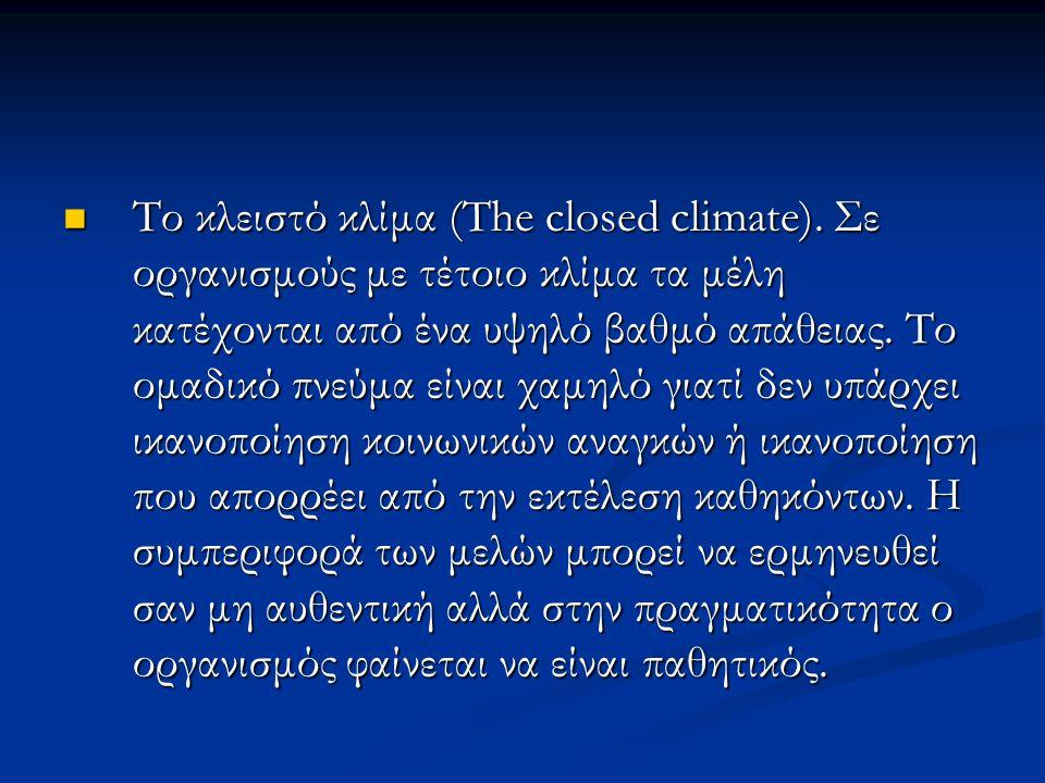 Το κλειστό κλίμα (The closed climate).