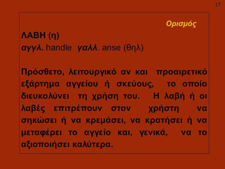 ΛΑΒΗ (η) αγγλ. handle γαλλ. anse (θηλ) Πρόσθετο, λειτουργικό αν και προαιρετικό εξάρτημα αγγείου ή σκεύους, το οποίο διευκολύνει τη χρήση του. Η λαβή