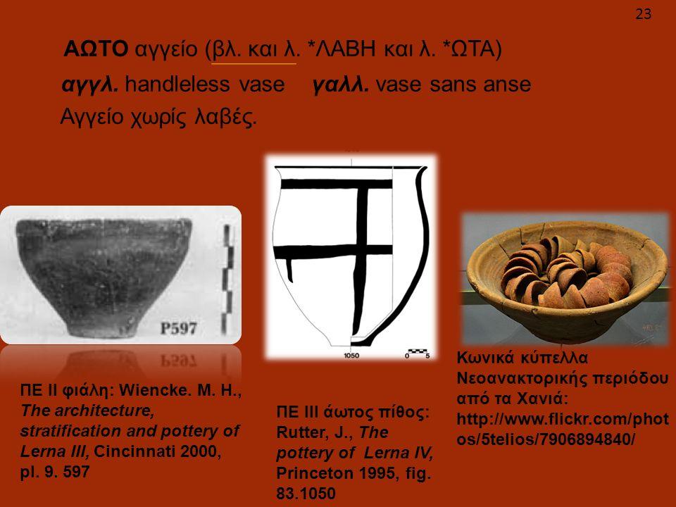 ΑΩΤΟ αγγείο (βλ. και λ. *ΛΑΒΗ και λ. *ΩΤΑ) αγγλ. handleless vase γαλλ. vase sans anse Αγγείο χωρίς λαβές. ΠΕ ΙΙ φιάλη: Wiencke. M. H., The architectur
