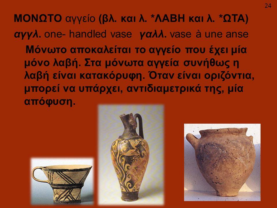 ΜΟΝΩΤΟ αγγείο (βλ. και λ. *ΛΑΒΗ και λ. *ΩΤΑ) αγγλ. one- handled vase γαλλ. vase à une anse Μόνωτο αποκαλείται το αγγείο που έχει μία μόνο λαβή. Στα μό