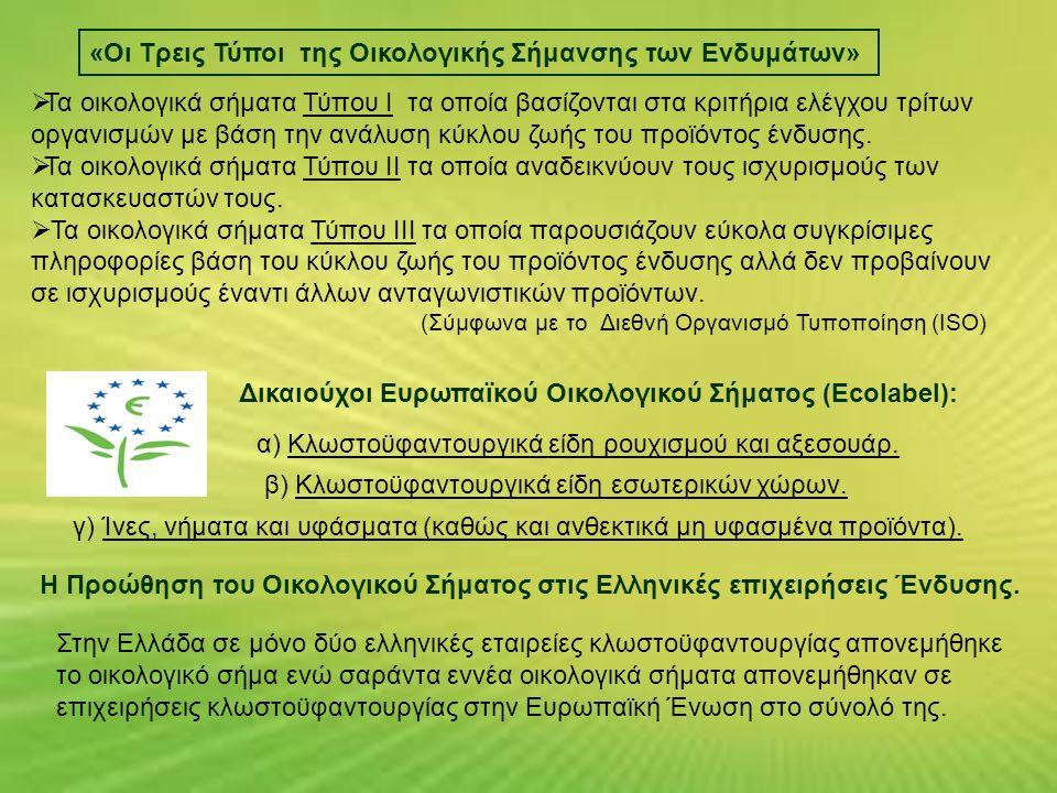 «Οι Τρεις Τύποι της Οικολογικής Σήμανσης των Ενδυμάτων»  Τα οικολογικά σήματα Τύπου Ι τα οποία βασίζονται στα κριτήρια ελέγχου τρίτων οργανισμών με βάση την ανάλυση κύκλου ζωής του προϊόντος ένδυσης.