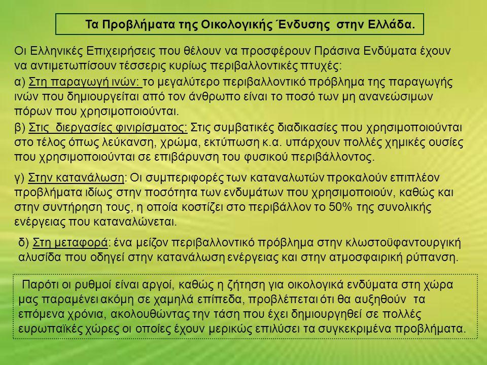 Τα Προβλήματα της Οικολογικής Ένδυσης στην Ελλάδα. Παρότι οι ρυθμοί είναι αργοί, καθώς η ζήτηση για οικολογικά ενδύματα στη χώρα μας παραμένει ακόμη σ
