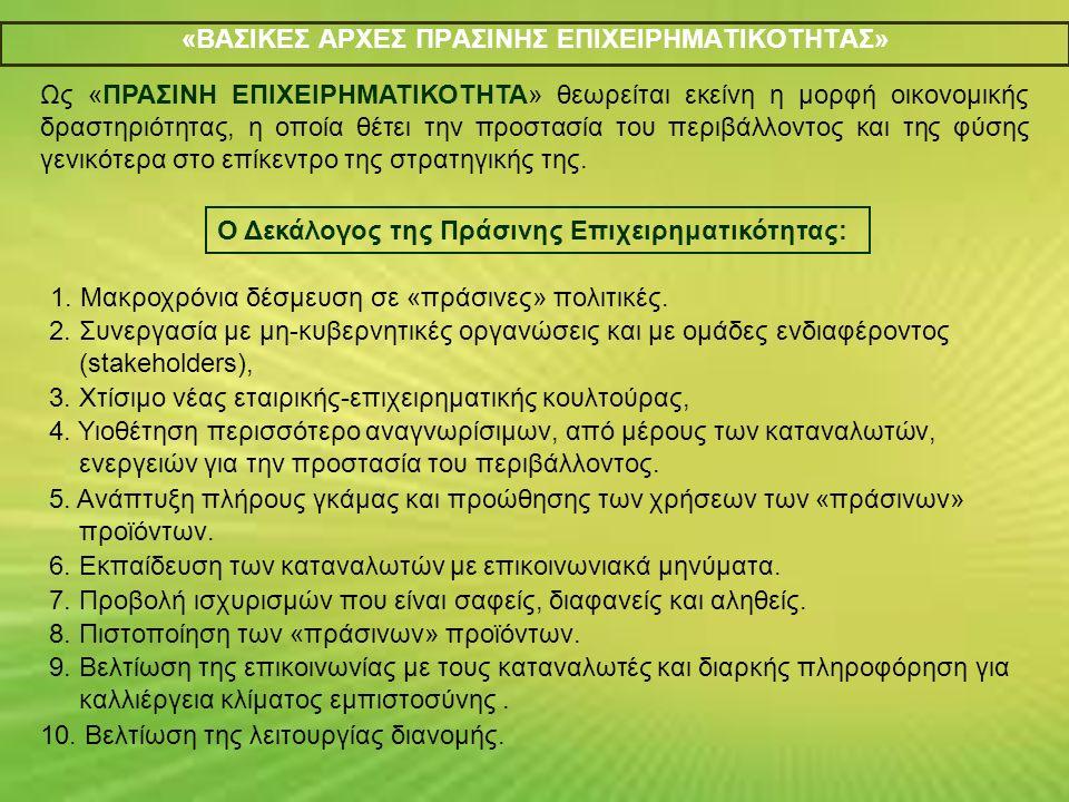 Τρεις κύριοι τύποι Στρατηγικών για Πράσινα Προϊόντα: 1 η : Η Πράσινη Καινοτομία που αφορά την ανάπτυξη νέων οικολογικών προϊόντων.