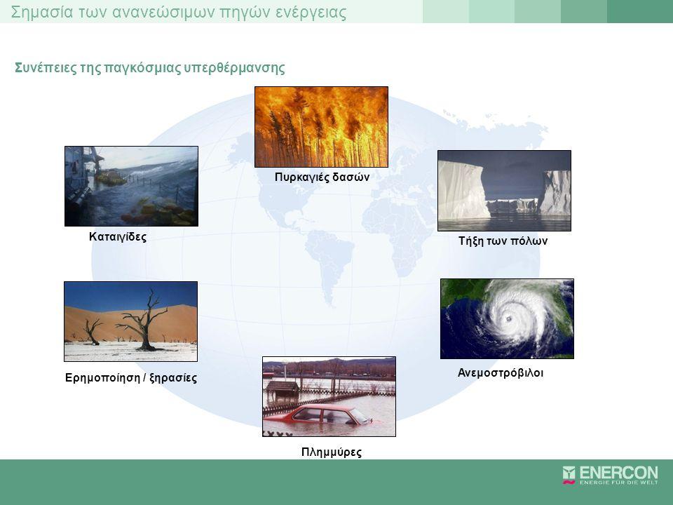 Σημασία των ανανεώσιμων πηγών ενέργειας Συνέπειες της παγκόσμιας υπερθέρμανσης Καταιγίδες Ερημοποίηση / ξηρασίες Πλημμύρες Ανεμοστρόβιλοι Τήξη των πόλ