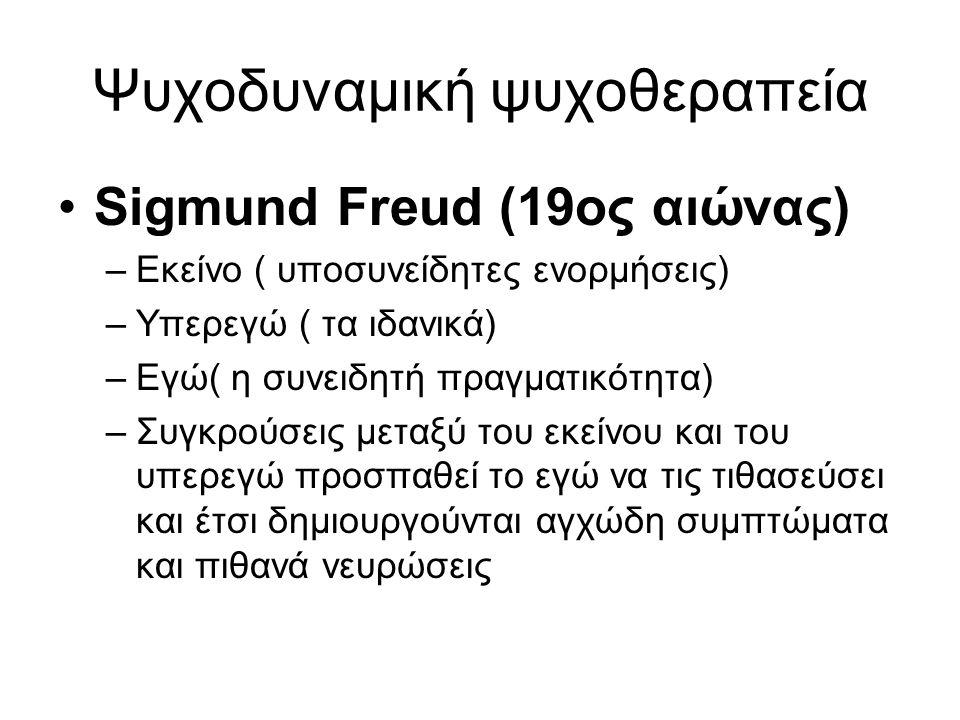 Ψυχοδυναμική ψυχοθεραπεία Sigmund Freud (19ος αιώνας) –Εκείνο ( υποσυνείδητες ενορμήσεις) –Υπερεγώ ( τα ιδανικά) –Εγώ( η συνειδητή πραγματικότητα) –Συ