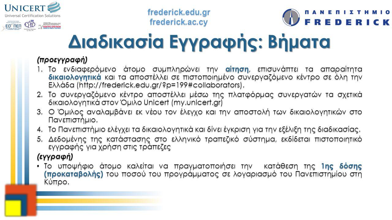 frederick.edu.grfrederick.ac.cy Διαδικασία Εγγραφής: Βήματα (προεγγραφή) 1.Το ενδιαφερόμενο άτομο συμπληρώνει την αίτηση, επισυνάπτει τα απαραίτητα δι