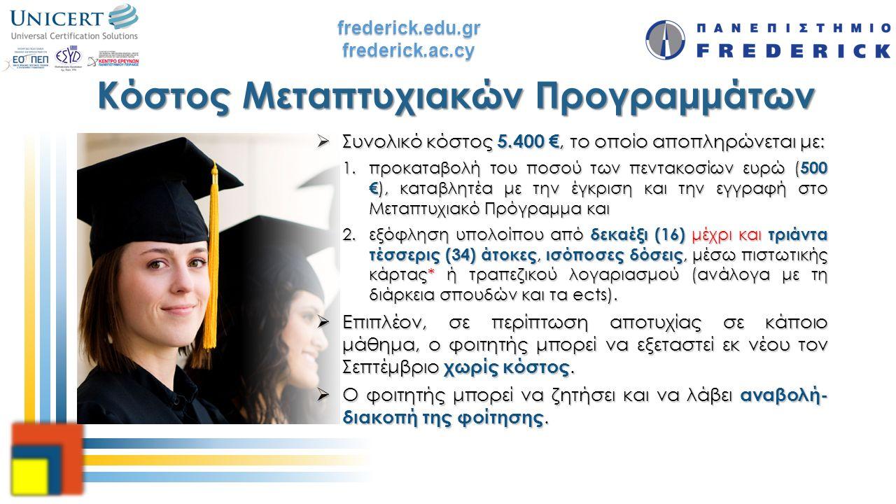 frederick.edu.grfrederick.ac.cy Κόστος Μεταπτυχιακών Προγραμμάτων  Συνολικό κόστος 5.400 €, το οποίο αποπληρώνεται με: 1.προκαταβολή του ποσού των πε
