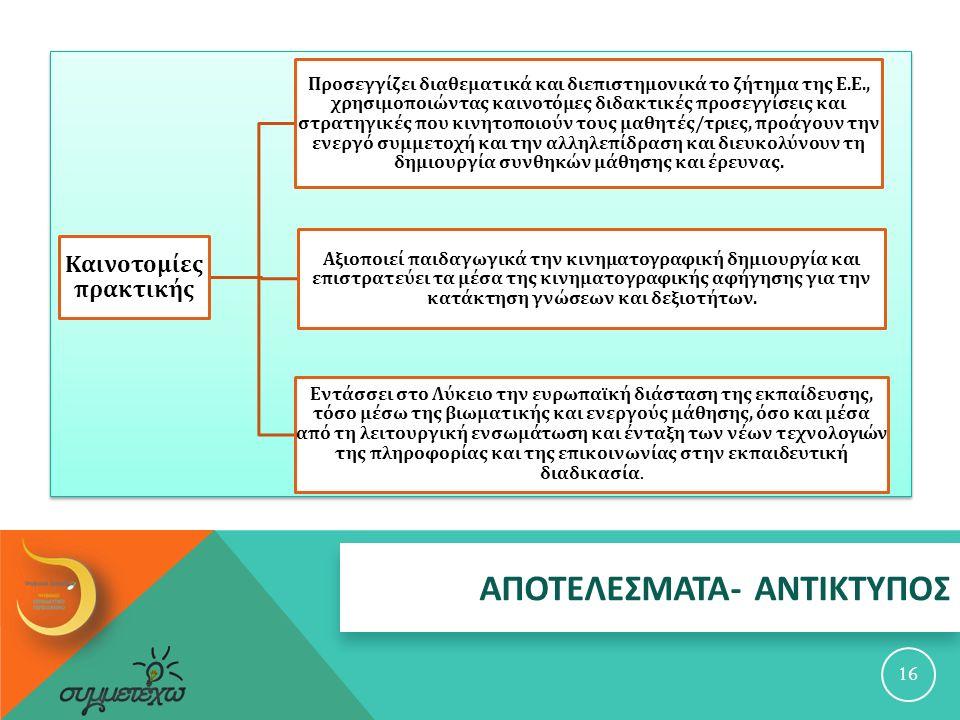 ΑΠΟΤΕΛΕΣΜΑΤΑ - ΑΝΤΙΚΤΥΠΟΣ 16 Καινοτομίες π ρακτικής Προσεγγίζει διαθεματικά και διε π ιστημονικά το ζήτημα της Ε.