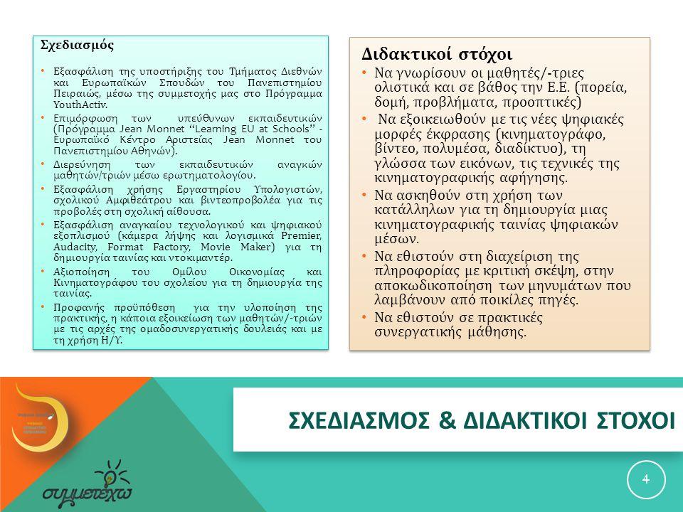 ΣΧΕΔΙΑΣΜΟΣ & ΔΙΔΑΚΤΙΚΟΙ ΣΤΟΧΟΙ Σχεδιασμός Εξασφάλιση της υποστήριξης του Τμήματος Διεθνών και Ευρωπαϊκών Σπουδών του Πανεπιστημίου Πειραιώς, μέσω της συμμετοχής μας στο Πρόγραμμα YouthActiv.