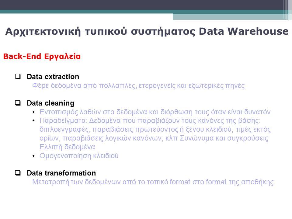 Back-End Εργαλεία  Data extraction Φέρε δεδομένα από πολλαπλές, ετερογενείς και εξωτερικές πηγές  Data cleaning Εντοπισμός λαθών στα δεδομένα και δι