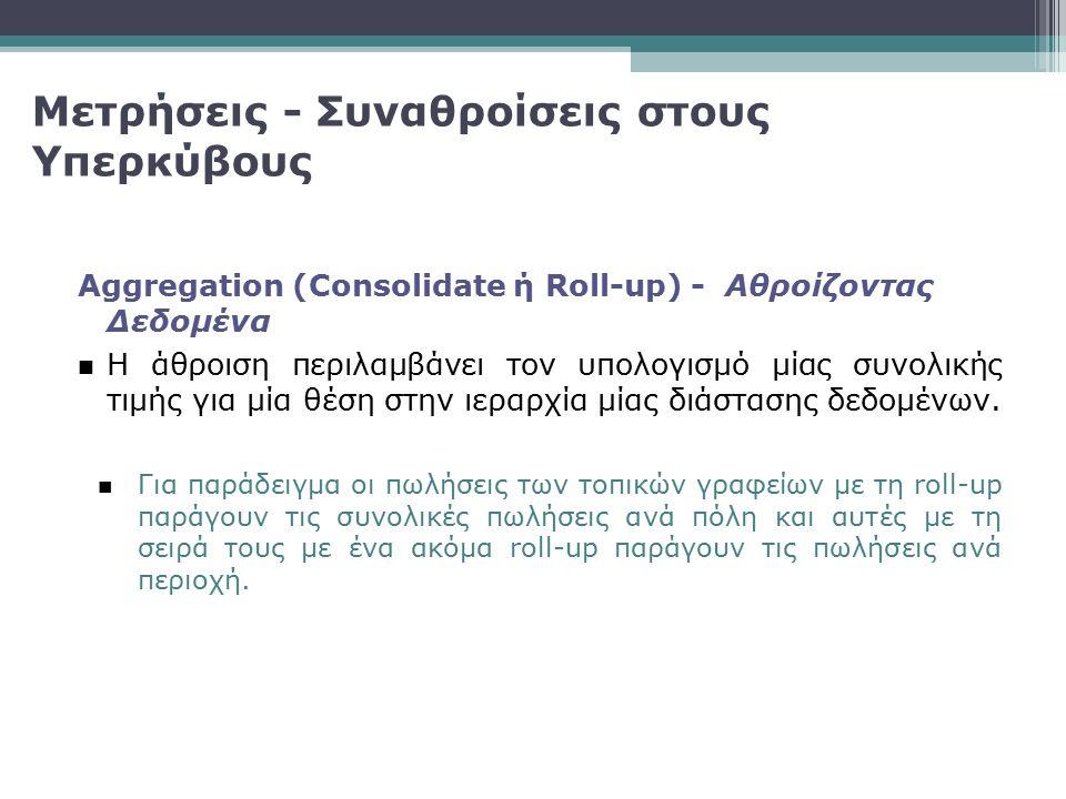 Μετρήσεις - Συναθροίσεις στους Υπερκύβους Aggregation (Consolidate ή Roll-up) - Αθροίζοντας Δεδομένα Η άθροιση περιλαμβάνει τον υπολογισμό μίας συνολι