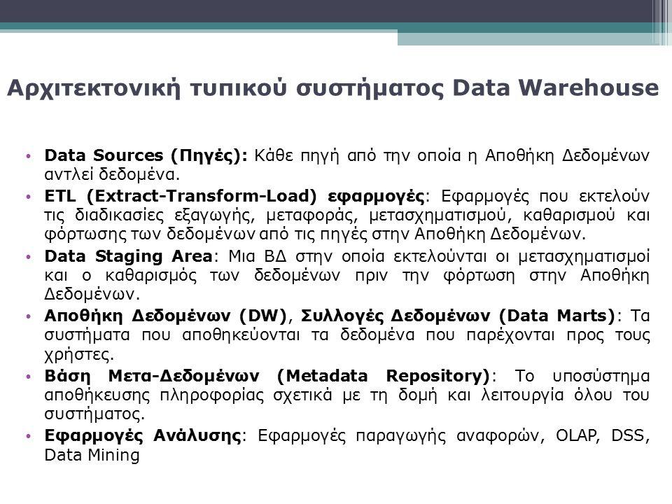 Data Sources (Πηγές): Κάθε πηγή από την οποία η Αποθήκη Δεδομένων αντλεί δεδομένα. ETL (Extract-Transform-Load) εφαρμογές: Εφαρμογές που εκτελούν τις