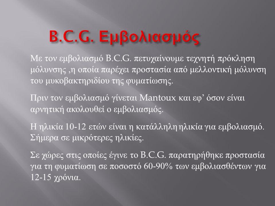 B.C.G.Εμβολιασμός Με τον εμβολιασμό B.C.G.