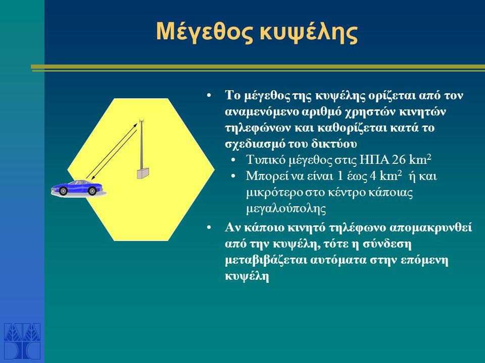 Μέγεθος κυψέλης Το μέγεθος της κυψέλης ορίζεται από τον αναμενόμενο αριθμό χρηστών κινητών τηλεφώνων και καθορίζεται κατά το σχεδιασμό του δικτύου Τυπικό μέγεθος στις ΗΠΑ 26 km 2 Μπορεί να είναι 1 έως 4 km 2 ή και μικρότερο στο κέντρο κάποιας μεγαλούπολης Αν κάποιο κινητό τηλέφωνο απομακρυνθεί από την κυψέλη, τότε η σύνδεση μεταβιβάζεται αυτόματα στην επόμενη κυψέλη