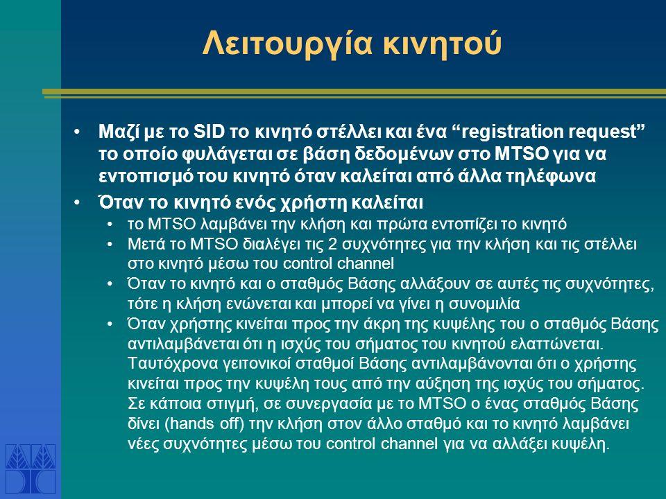 Λειτουργία κινητού Μαζί με το SID το κινητό στέλλει και ένα registration request το οποίο φυλάγεται σε βάση δεδομένων στο MTSO για να εντοπισμό του κινητό όταν καλείται από άλλα τηλέφωνα Όταν το κινητό ενός χρήστη καλείται το MTSO λαμβάνει την κλήση και πρώτα εντοπίζει το κινητό Μετά το MTSO διαλέγει τις 2 συχνότητες για την κλήση και τις στέλλει στο κινητό μέσω του control channel Όταν το κινητό και ο σταθμός Βάσης αλλάξουν σε αυτές τις συχνότητες, τότε η κλήση ενώνεται και μπορεί να γίνει η συνομιλία Όταν χρήστης κινείται προς την άκρη της κυψέλης του ο σταθμός Βάσης αντιλαμβάνεται ότι η ισχύς του σήματος του κινητού ελαττώνεται.