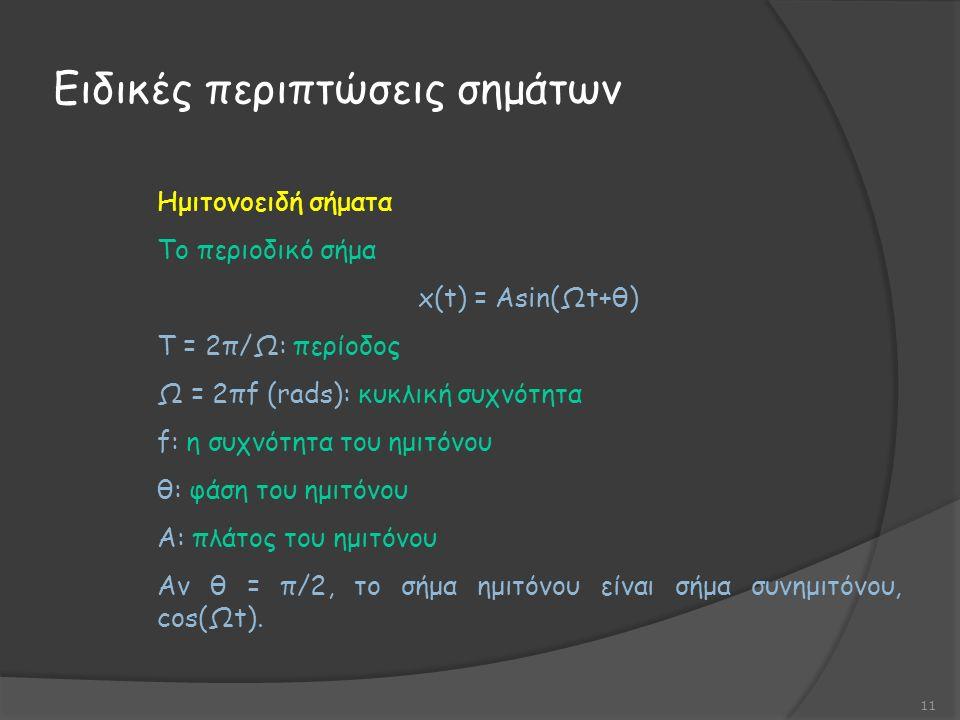 Ειδικές περιπτώσεις σημάτων 11 Ημιτονοειδή σήματα Το περιοδικό σήμα x(t) = Αsin(Ωt+θ) Τ = 2π/Ω: περίοδος Ω = 2πf (rads): κυκλική συχνότητα f: η συχνότητα του ημιτόνου θ: φάση του ημιτόνου Α: πλάτος του ημιτόνου Αν θ = π/2, το σήμα ημιτόνου είναι σήμα συνημιτόνου, cos(Ωt).