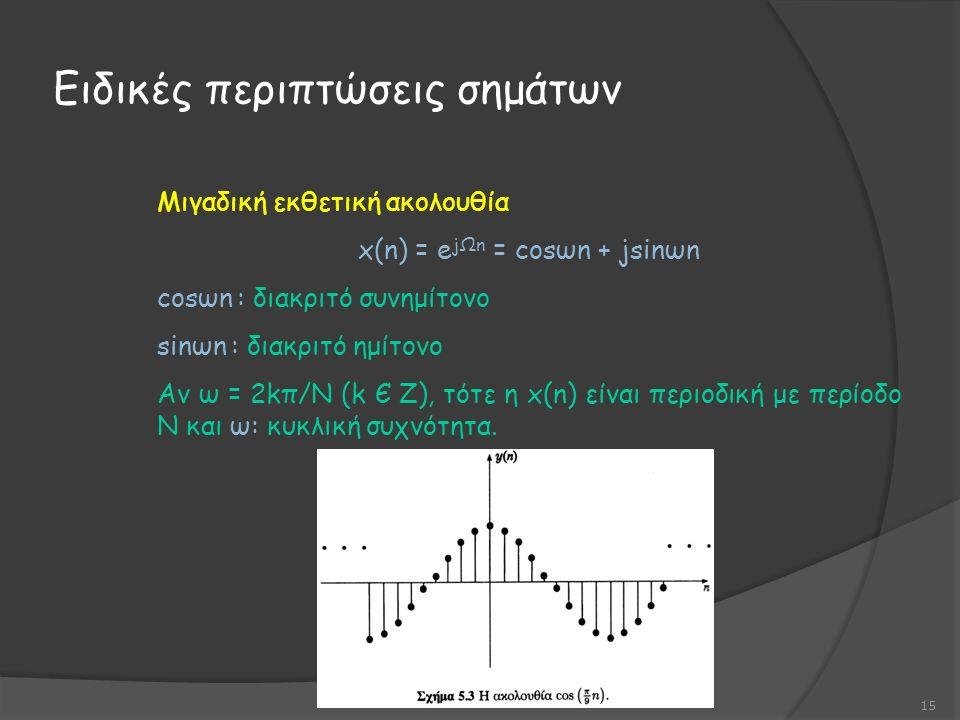 Ειδικές περιπτώσεις σημάτων 15 Μιγαδική εκθετική ακολουθία x(n) = e jΩn = cosωn + jsinωn cosωn : διακριτό συνημίτονο sinωn : διακριτό ημίτονο Αν ω = 2kπ/Ν (k Є Z), τότε η x(n) είναι περιοδική με περίοδο Ν και ω: κυκλική συχνότητα.