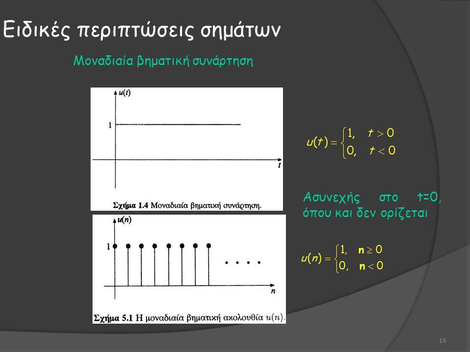Ειδικές περιπτώσεις σημάτων 16 Ασυνεχής στο t=0, όπου και δεν ορίζεται Μοναδιαία βηματική συνάρτηση