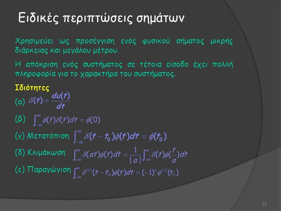 Χρησιμεύει ως προσέγγιση ενός φυσικού σήματος μικρής διάρκειας και μεγάλου μέτρου.