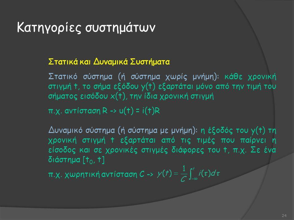 Στατικά και Δυναμικά Συστήματα Στατικό σύστημα (ή σύστημα χωρίς μνήμη): κάθε χρονική στιγμή t, το σήμα εξόδου y(t) εξαρτάται μόνο από την τιμή του σήματος εισόδου x(t), την ίδια χρονική στιγμή π.χ.