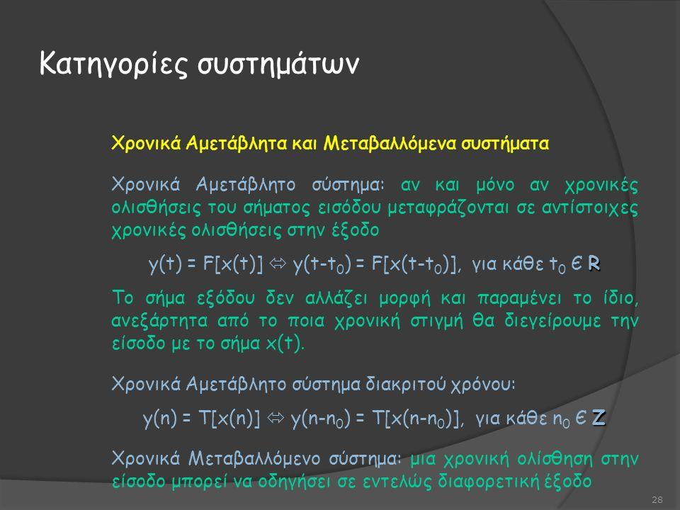 Κατηγορίες συστημάτων 28 Χρονικά Αμετάβλητα και Μεταβαλλόμενα συστήματα Χρονικά Αμετάβλητο σύστημα: αν και μόνο αν χρονικές ολισθήσεις του σήματος εισόδου μεταφράζονται σε αντίστοιχες χρονικές ολισθήσεις στην έξοδο R y(t) = F[x(t)]  y(t-t 0 ) = F[x(t-t 0 )], για κάθε t 0 Є R Το σήμα εξόδου δεν αλλάζει μορφή και παραμένει το ίδιο, ανεξάρτητα από το ποια χρονική στιγμή θα διεγείρουμε την είσοδο με το σήμα x(t).