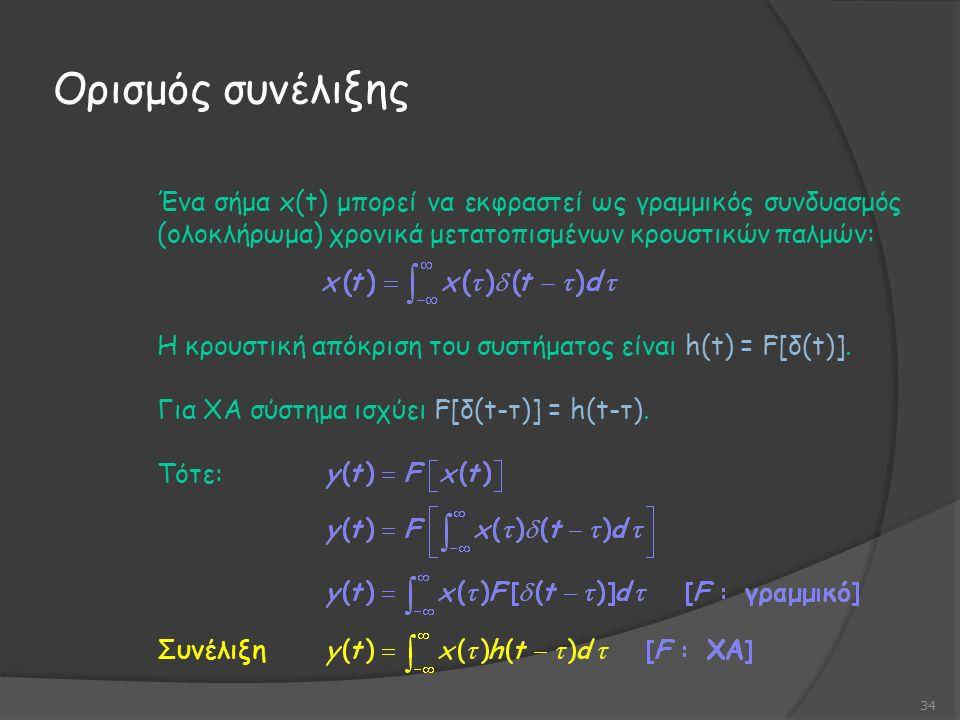 Ορισμός συνέλιξης 34 Ένα σήμα x(t) μπορεί να εκφραστεί ως γραμμικός συνδυασμός (ολοκλήρωμα) χρονικά μετατοπισμένων κρουστικών παλμών: Η κρουστική απόκριση του συστήματος είναι h(t) = F[δ(t)].