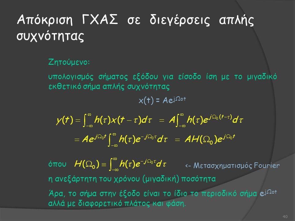 Απόκριση ΓΧΑΣ σε διεγέρσεις απλής συχνότητας 40 Ζητούμενο: υπολογισμός σήματος εξόδου για είσοδο ίση με το μιγαδικό εκθετικό σήμα απλής συχνότητας x(t) = Ae jΩot όπου η ανεξάρτητη του χρόνου (μιγαδική) ποσότητα Άρα, το σήμα στην έξοδο είναι το ίδιο το περιοδικό σήμα e jΩot αλλά με διαφορετικό πλάτος και φάση.