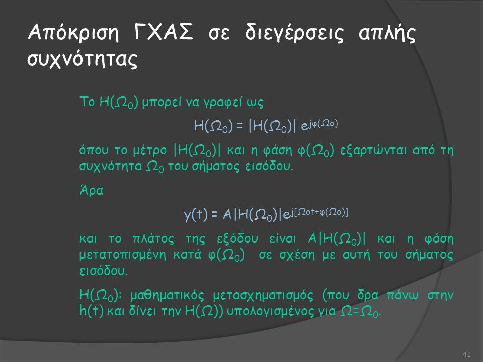 Απόκριση ΓΧΑΣ σε διεγέρσεις απλής συχνότητας 41 Το Η(Ω 0 ) μπορεί να γραφεί ως Η(Ω 0 ) = |Η(Ω 0 )| e jφ(Ωo) όπου το μέτρο |Η(Ω 0 )| και η φάση φ(Ω 0 ) εξαρτώνται από τη συχνότητα Ω 0 του σήματος εισόδου.