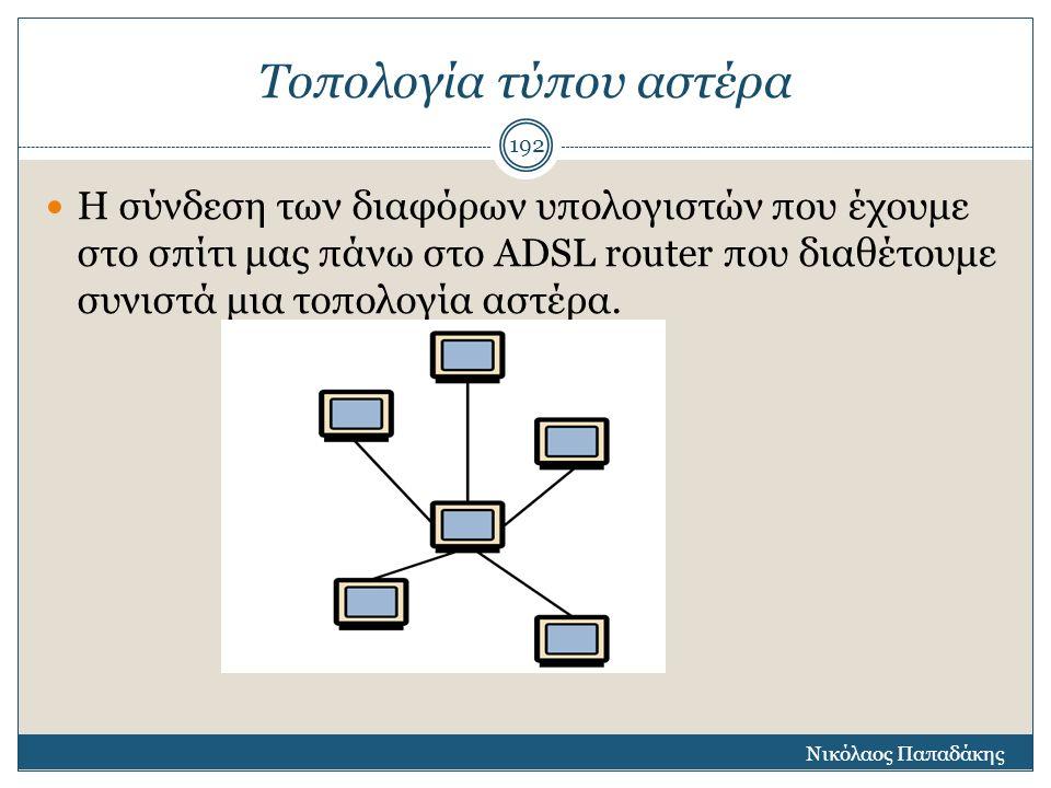 Τοπολογία τύπου αστέρα Η σύνδεση των διαφόρων υπολογιστών που έχουμε στο σπίτι μας πάνω στο ADSL router που διαθέτουμε συνιστά μια τοπολογία αστέρα. Ν