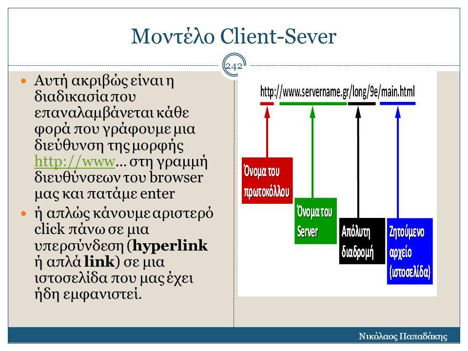 Μοντέλο Client-Sever Αυτή ακριβώς είναι η διαδικασία που επαναλαμβάνεται κάθε φορά που γράφουμε μια διεύθυνση της μορφής http://www... στη γραμμή διευ