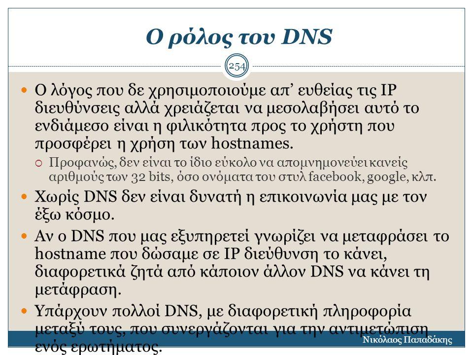 Ο ρόλος του DNS Ο λόγος που δε χρησιμοποιούμε απ' ευθείας τις ΙΡ διευθύνσεις αλλά χρειάζεται να μεσολαβήσει αυτό το ενδιάμεσο είναι η φιλικότητα προς