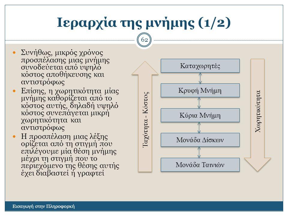 Ιεραρχία της μνήμης (1/2) Εισαγωγή στην Πληροφορκή 62 Συνήθως, μικρός χρόνος προσπέλασης μιας μνήμης συνοδεύεται από υψηλό κόστος αποθήκευσης και αντι