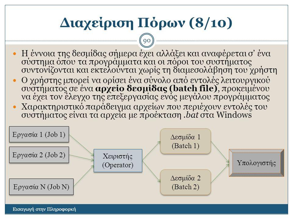 Διαχείριση Πόρων (8/10) Εισαγωγή στην Πληροφορκή 90 Η έννοια της δεσμίδας σήμερα έχει αλλάξει και αναφέρεται σ' ένα σύστημα όπου τα προγράμματα και οι