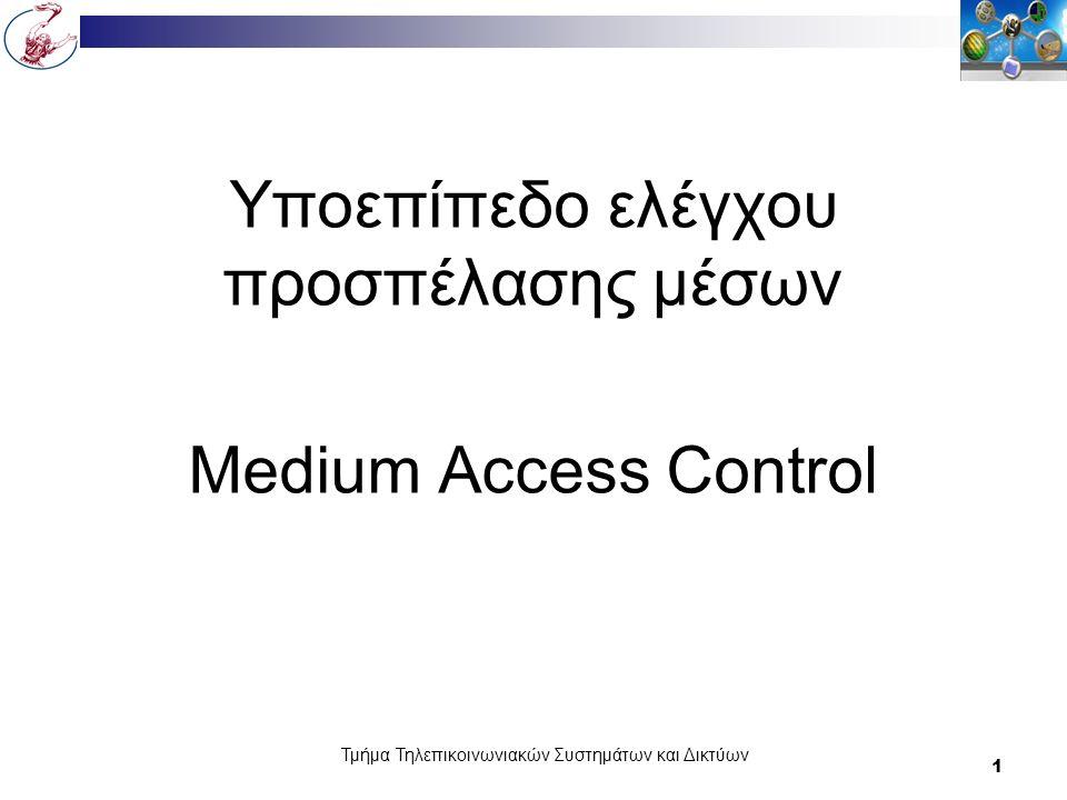 Τμήμα Τηλεπικοινωνιακών Συστημάτων και Δικτύων 12 Πρωτόκολλα πολλαπλής προσπέλασης Multiple Access Protocols ALOHA Carrier Sense Multiple Access Protocols Collision-Free Protocols Limited-Contention Protocols Wavelength Division Multiple Access Protocols Wireless LAN Protocols