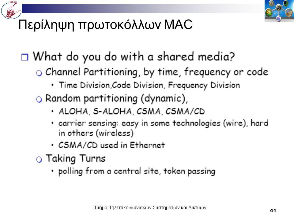 Τμήμα Τηλεπικοινωνιακών Συστημάτων και Δικτύων 41 Περίληψη πρωτοκόλλων MAC