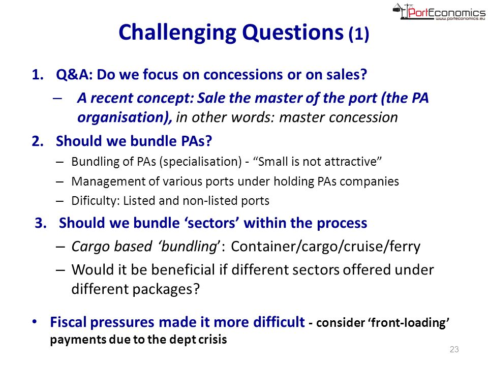 Challenging Questions (1) 1.Q&A: Do we focus on concessions or on sales.