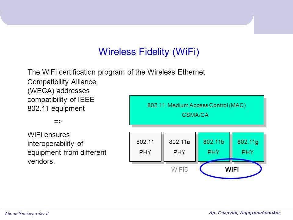 Δίκτυα Υπολογιστών II Wireless Fidelity (WiFi) 802.11 PHY 802.11a PHY 802.11b PHY 802.11g PHY 802.11 Medium Access Control (MAC) CSMA/CA WiFi The WiFi