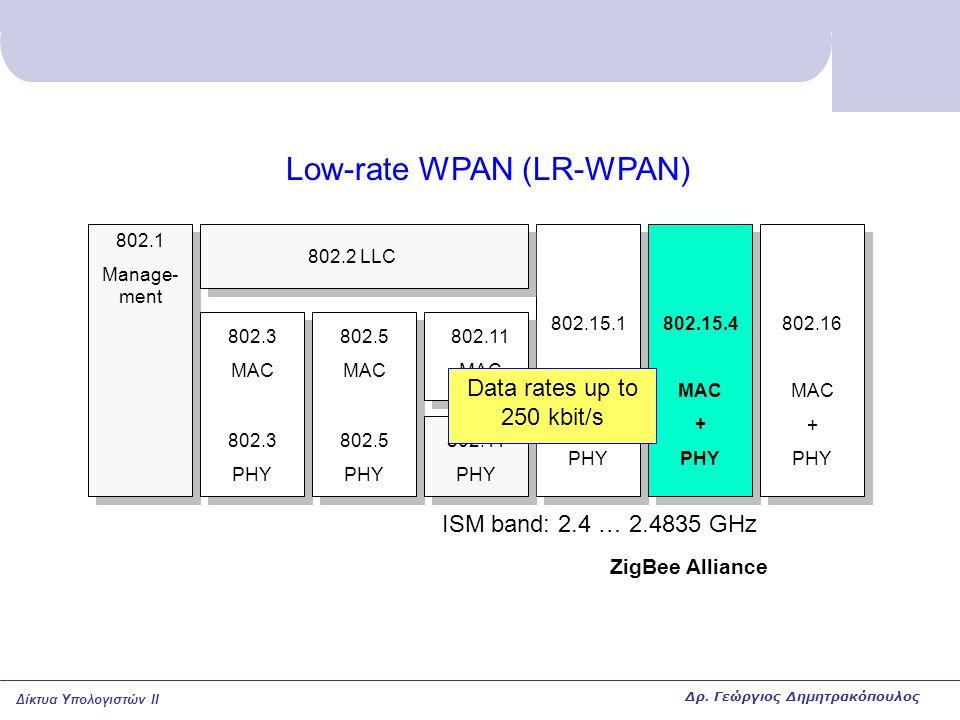 Δίκτυα Υπολογιστών II Low-rate WPAN (LR-WPAN) 802.15.1 MAC + PHY 802.15.4 MAC + PHY 802.16 MAC + PHY 802.1 Manage- ment 802.3 MAC 802.3 PHY 802.5 MAC