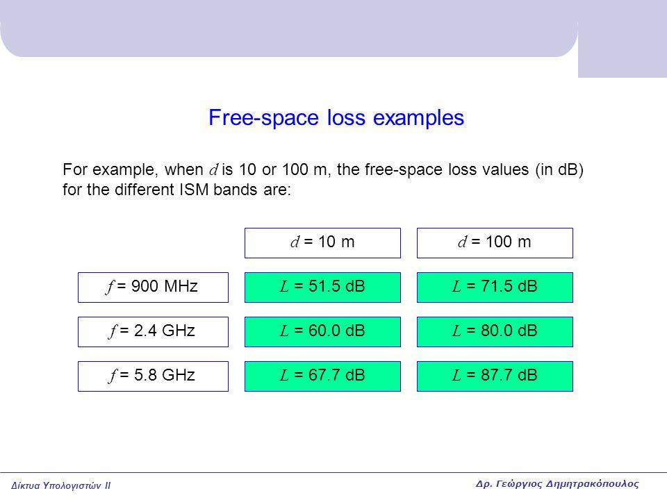 Δίκτυα Υπολογιστών II Free-space loss examples For example, when d is 10 or 100 m, the free-space loss values (in dB) for the different ISM bands are: