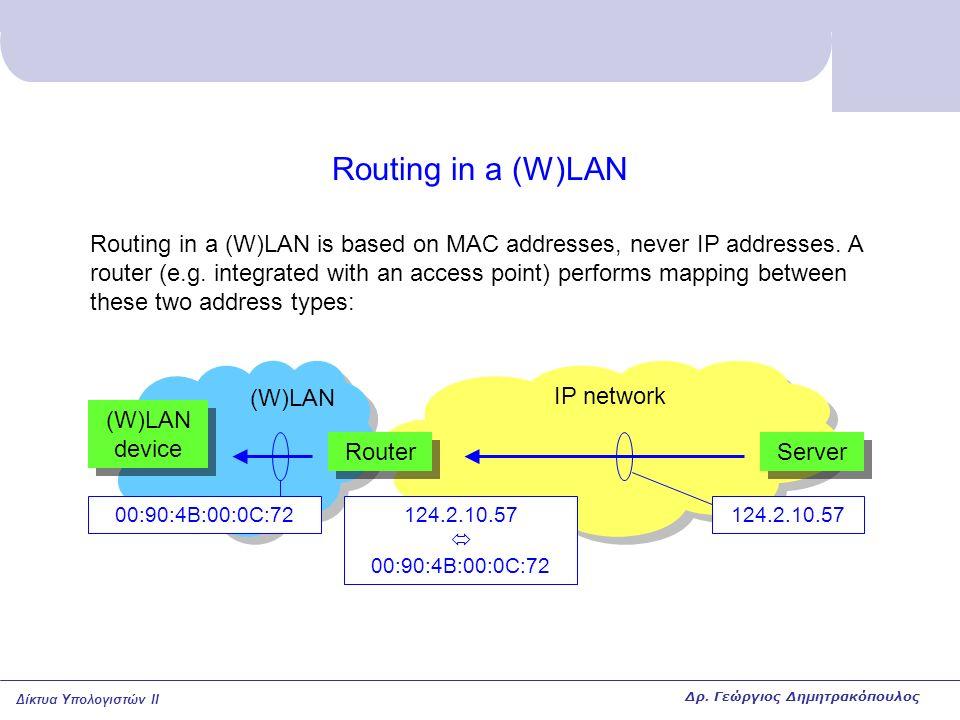 Δίκτυα Υπολογιστών II Routing in a (W)LAN Routing in a (W)LAN is based on MAC addresses, never IP addresses. A router (e.g. integrated with an access