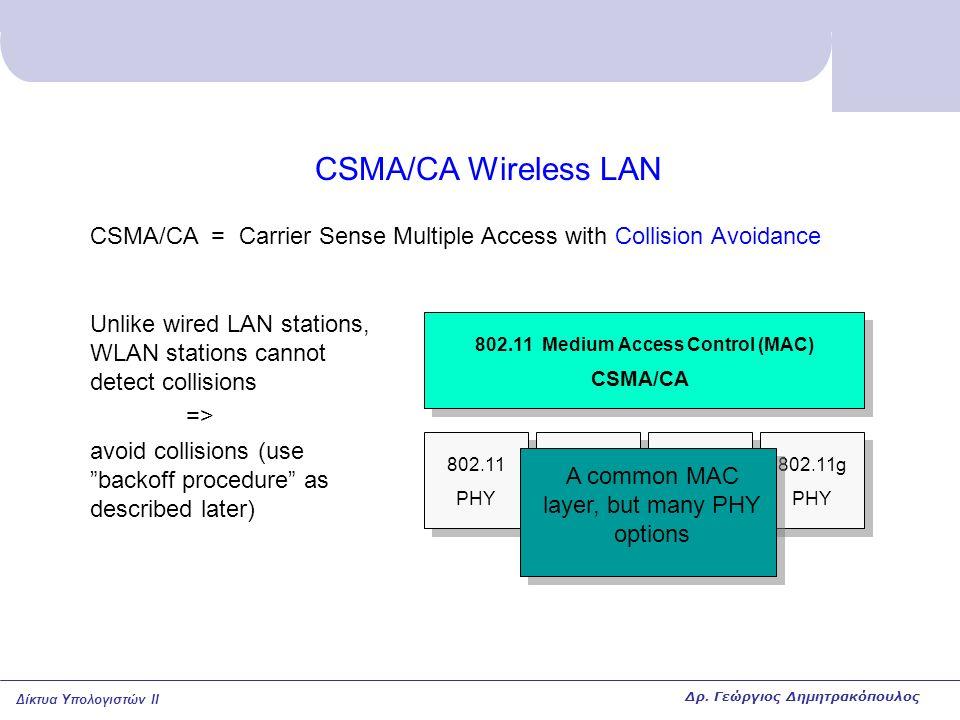 Δίκτυα Υπολογιστών II CSMA/CA Wireless LAN 802.11 PHY 802.11a PHY 802.11b PHY 802.11g PHY 802.11 Medium Access Control (MAC) CSMA/CA CSMA/CA = Carrier