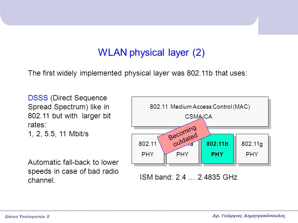 Δίκτυα Υπολογιστών II WLAN physical layer (2) 802.11 PHY 802.11a PHY 802.11b PHY 802.11g PHY 802.11 Medium Access Control (MAC) CSMA/CA The first widely implemented physical layer was 802.11b that uses: DSSS (Direct Sequence Spread Spectrum) like in 802.11 but with larger bit rates: 1, 2, 5.5, 11 Mbit/s Automatic fall-back to lower speeds in case of bad radio channel.