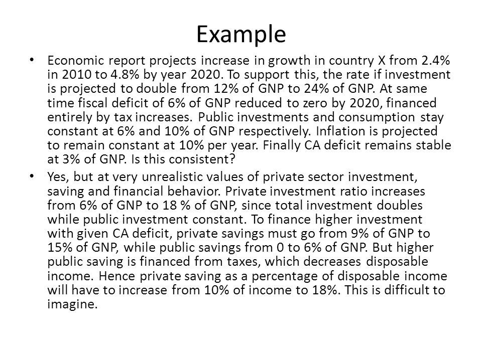 Example Economic report projects increase in growth in country X from 2.4% in 2010 to 4.8% by year 2020. To support this, the rate if investment is pr