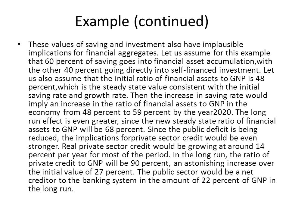 Example (continued) These values of saving and investment also have implausible implications for financial aggregates.